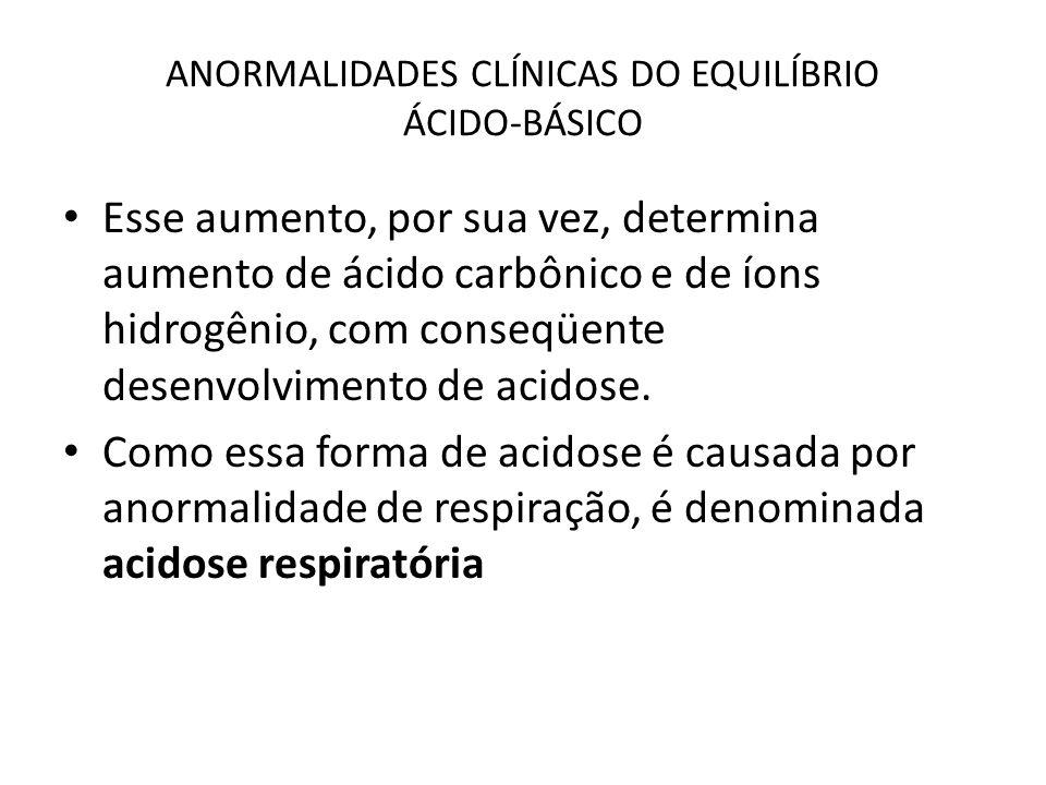 ANORMALIDADES CLÍNICAS DO EQUILÍBRIO ÁCIDO-BÁSICO