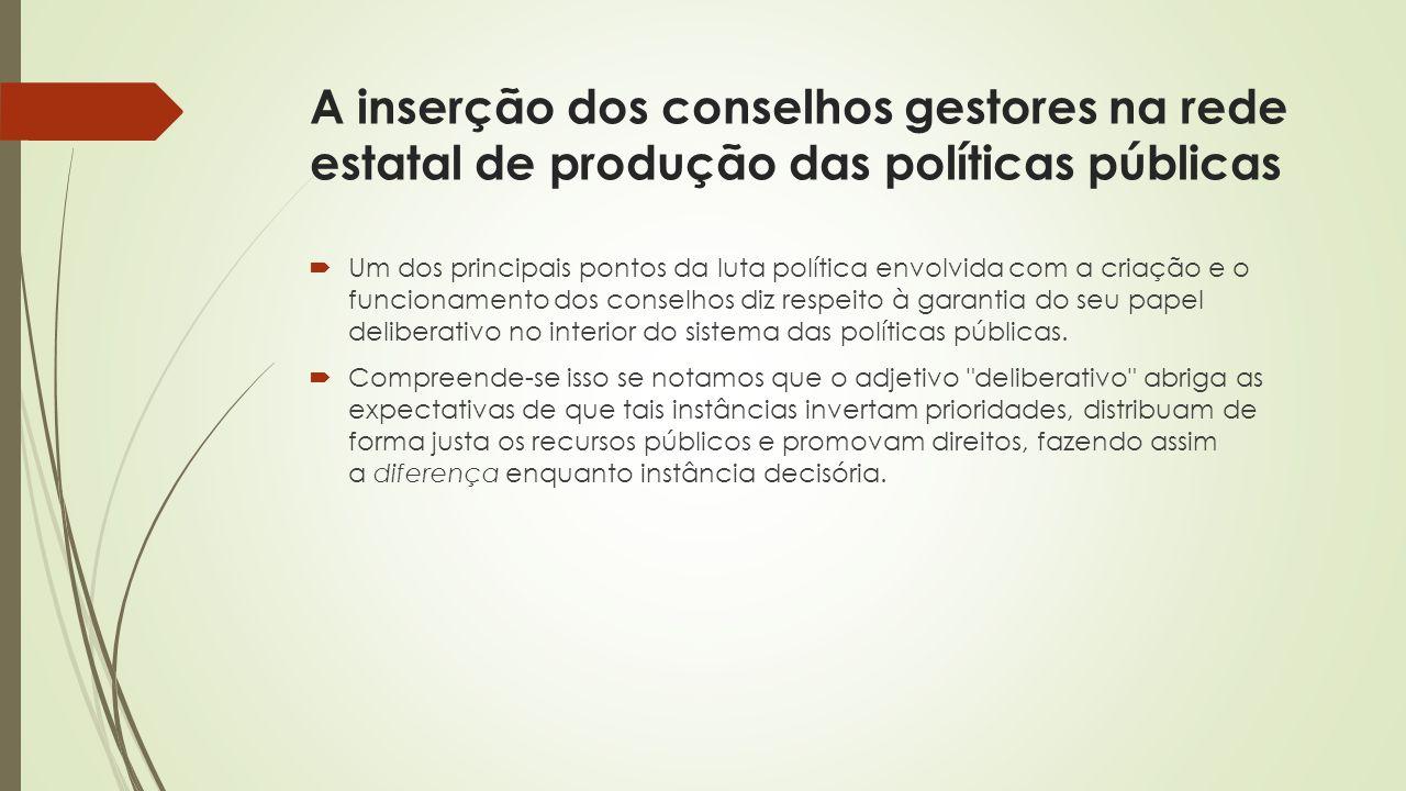 A inserção dos conselhos gestores na rede estatal de produção das políticas públicas
