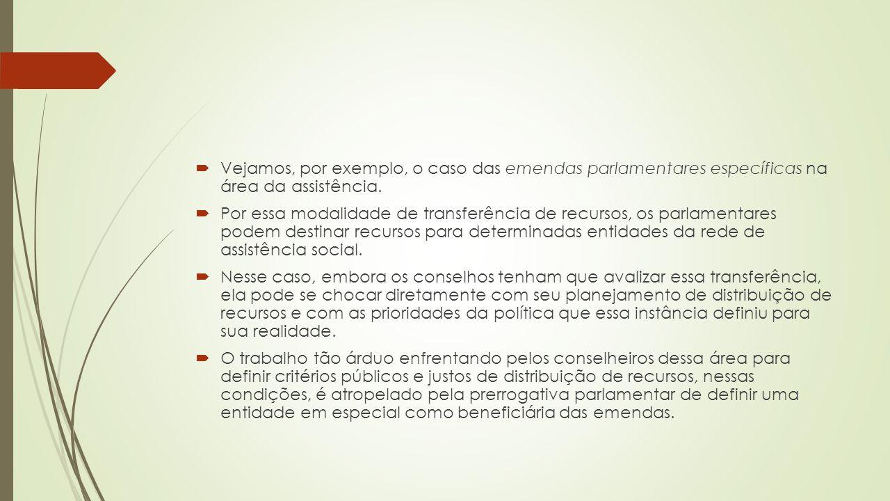 Vejamos, por exemplo, o caso das emendas parlamentares específicas na área da assistência.