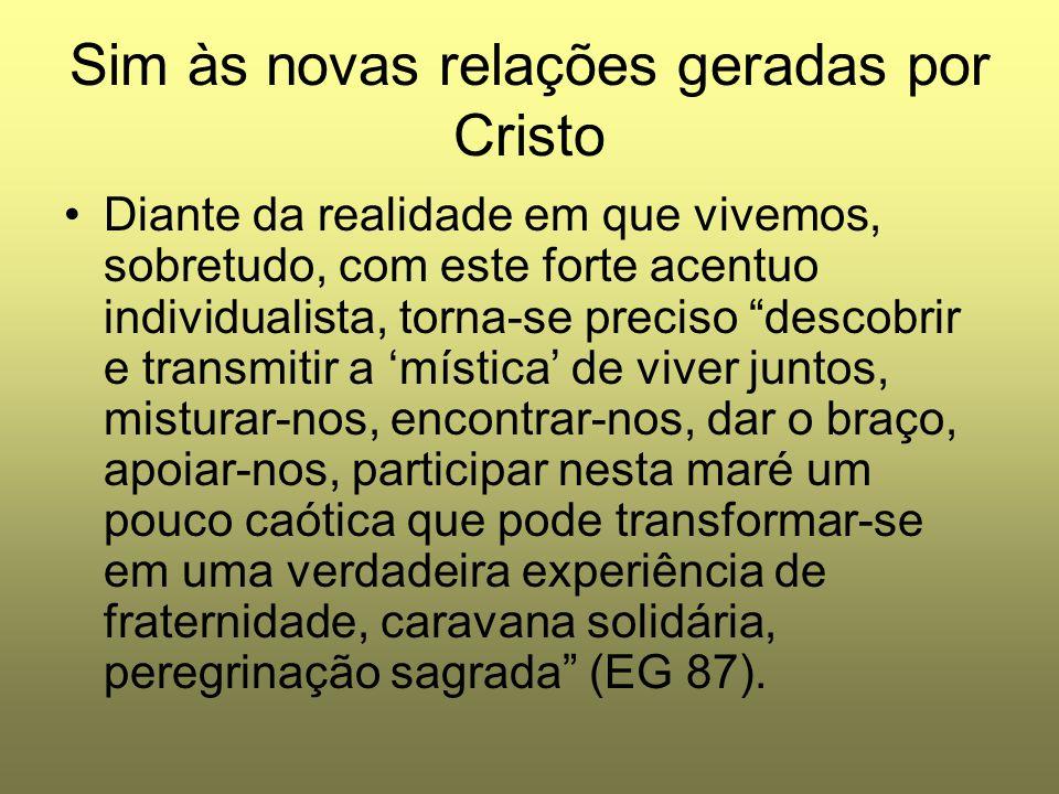 Sim às novas relações geradas por Cristo