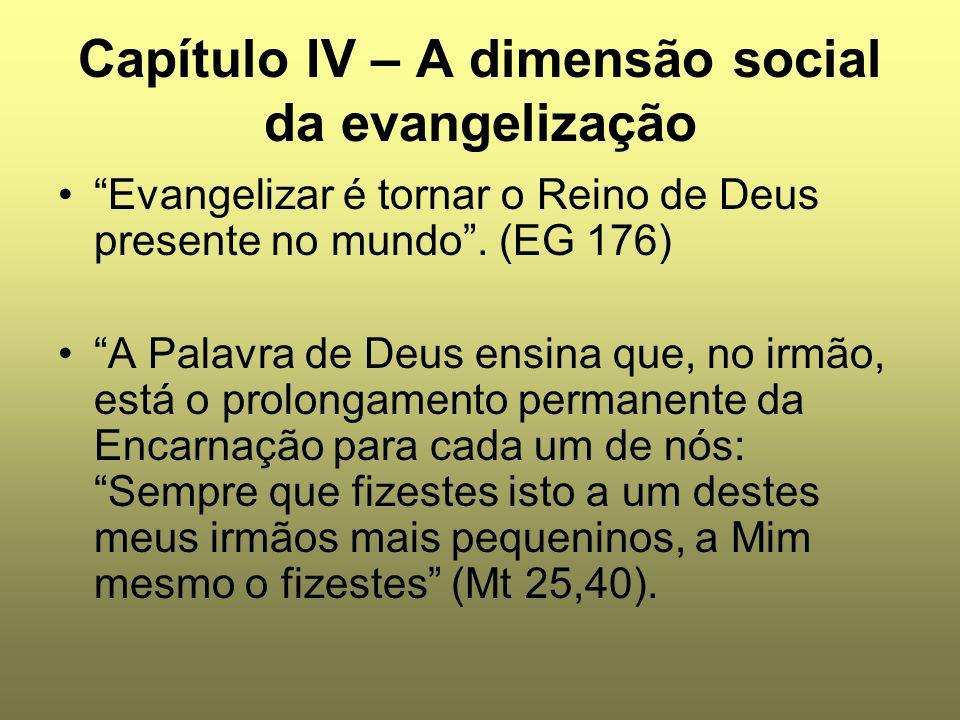 Capítulo IV – A dimensão social da evangelização