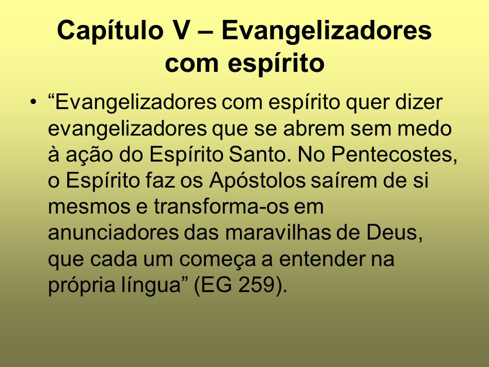 Capítulo V – Evangelizadores com espírito