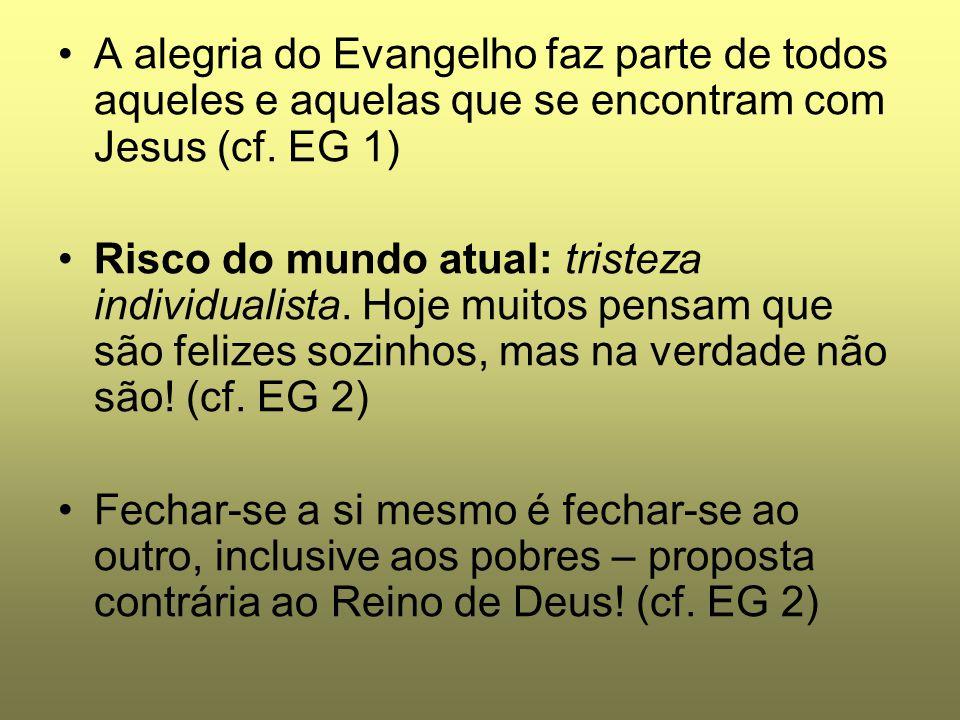 A alegria do Evangelho faz parte de todos aqueles e aquelas que se encontram com Jesus (cf. EG 1)