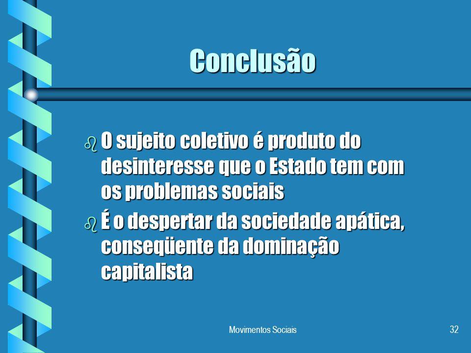 Conclusão O sujeito coletivo é produto do desinteresse que o Estado tem com os problemas sociais.