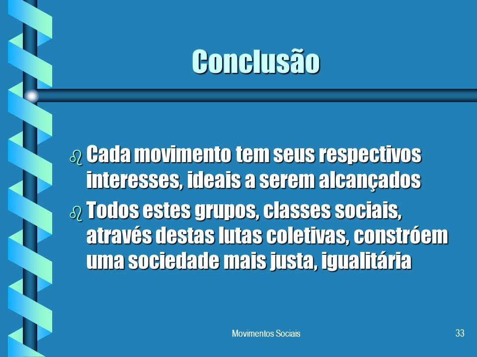 Conclusão Cada movimento tem seus respectivos interesses, ideais a serem alcançados.