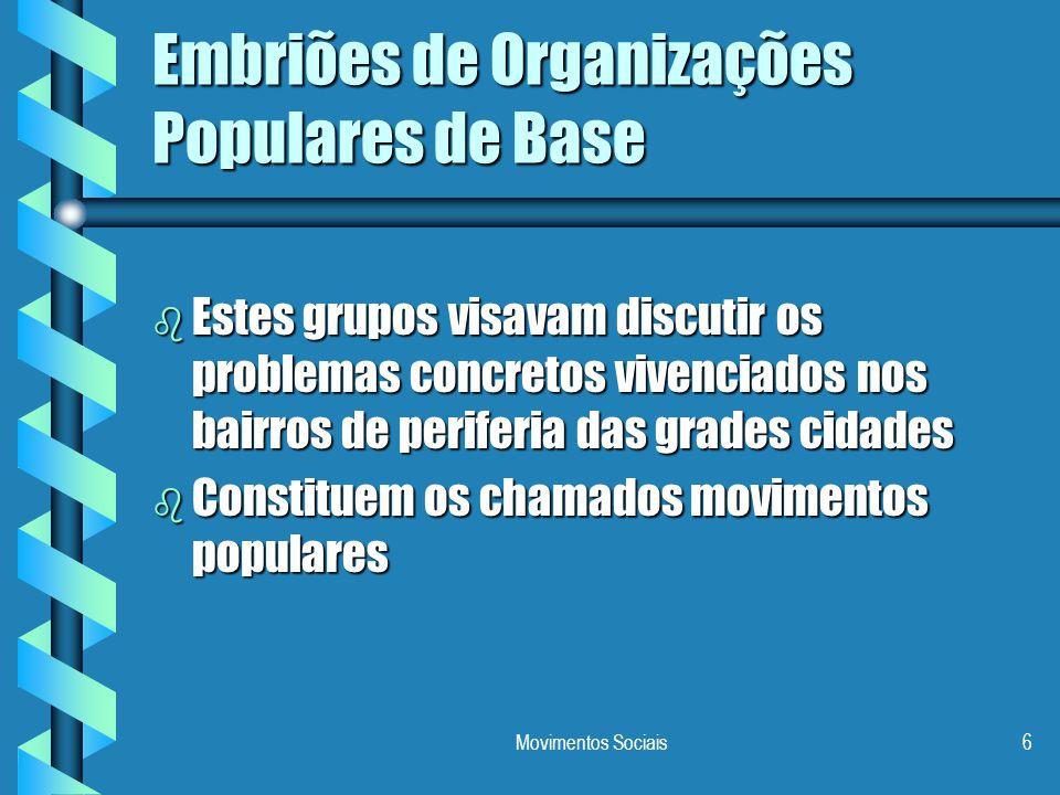 Embriões de Organizações Populares de Base