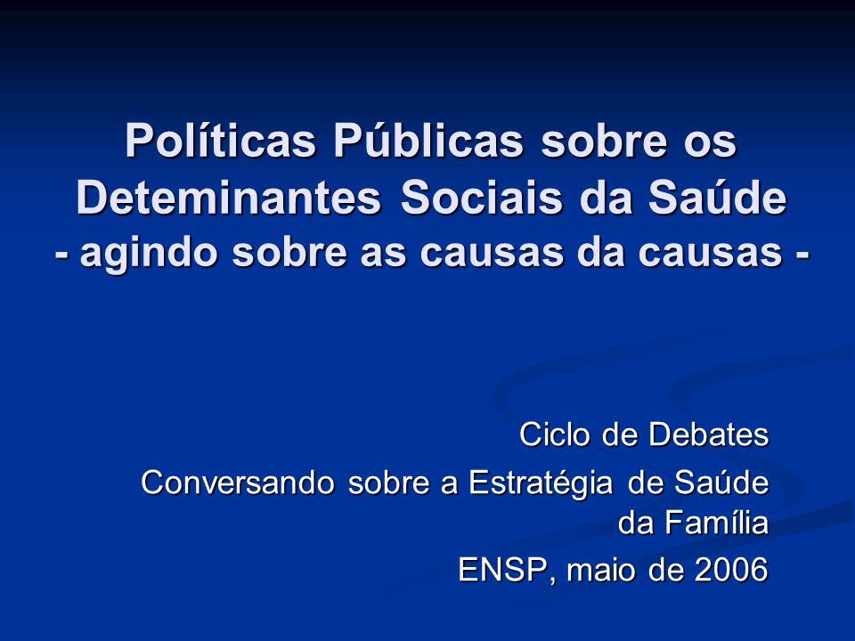 Políticas Públicas sobre os Deteminantes Sociais da Saúde - agindo sobre as causas da causas -