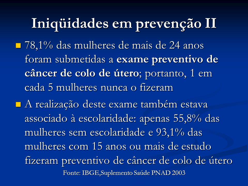 Iniqüidades em prevenção II