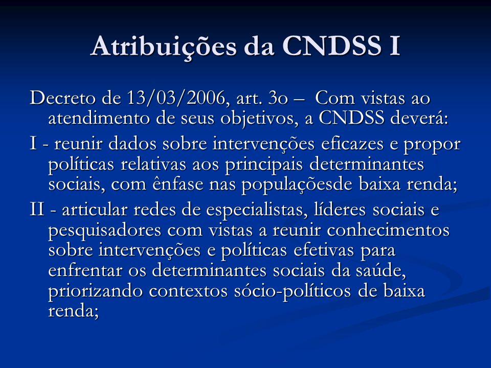 Atribuições da CNDSS I Decreto de 13/03/2006, art. 3o – Com vistas ao atendimento de seus objetivos, a CNDSS deverá: