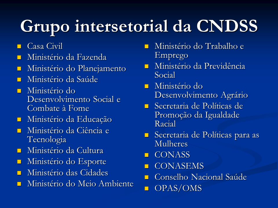 Grupo intersetorial da CNDSS