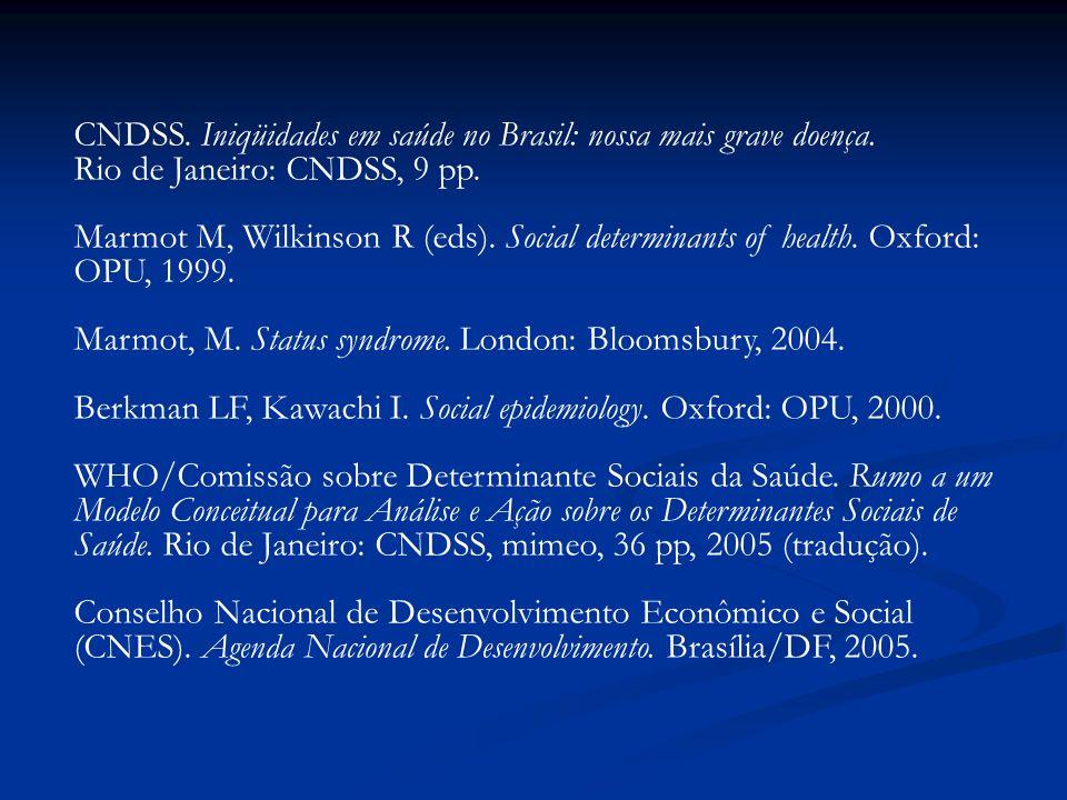 CNDSS. Iniqüidades em saúde no Brasil: nossa mais grave doença.