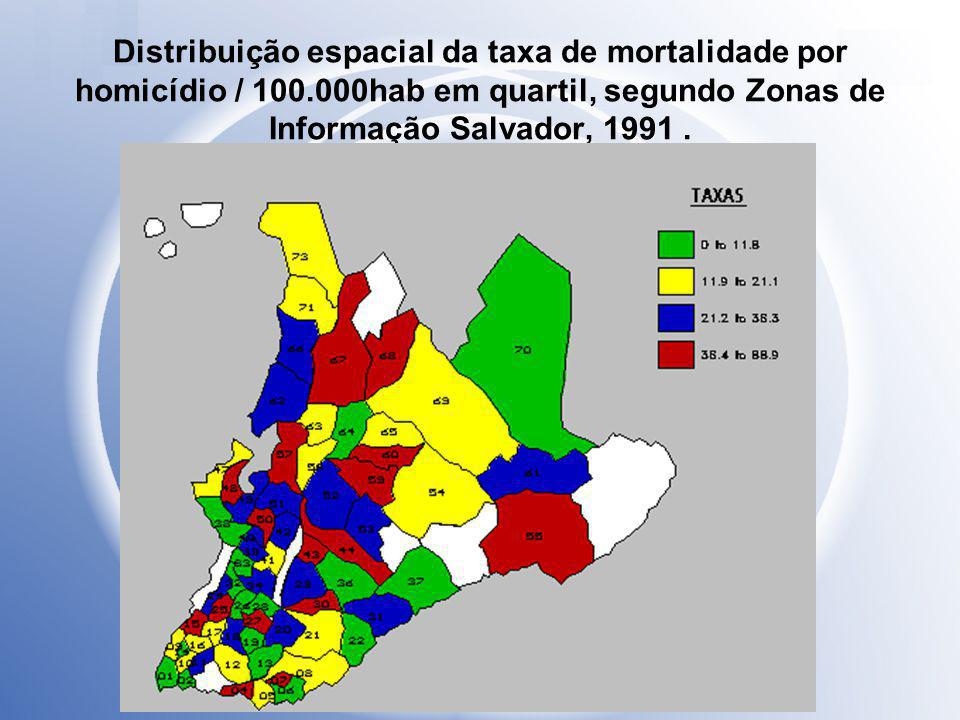 Distribuição espacial da taxa de mortalidade por homicídio / 100