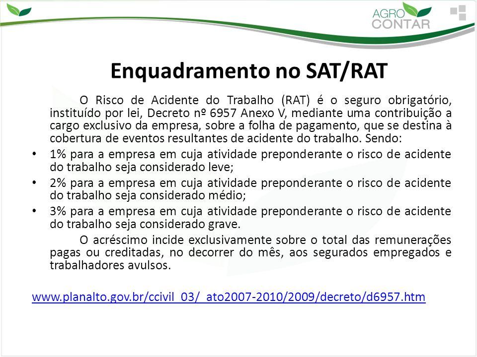 Enquadramento no SAT/RAT