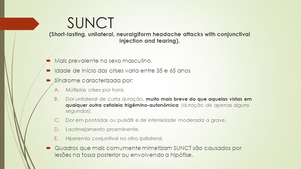 SUNCT (Short-lasting, unilateral, neuralgiform headache attacks with conjunctival injection and tearing).