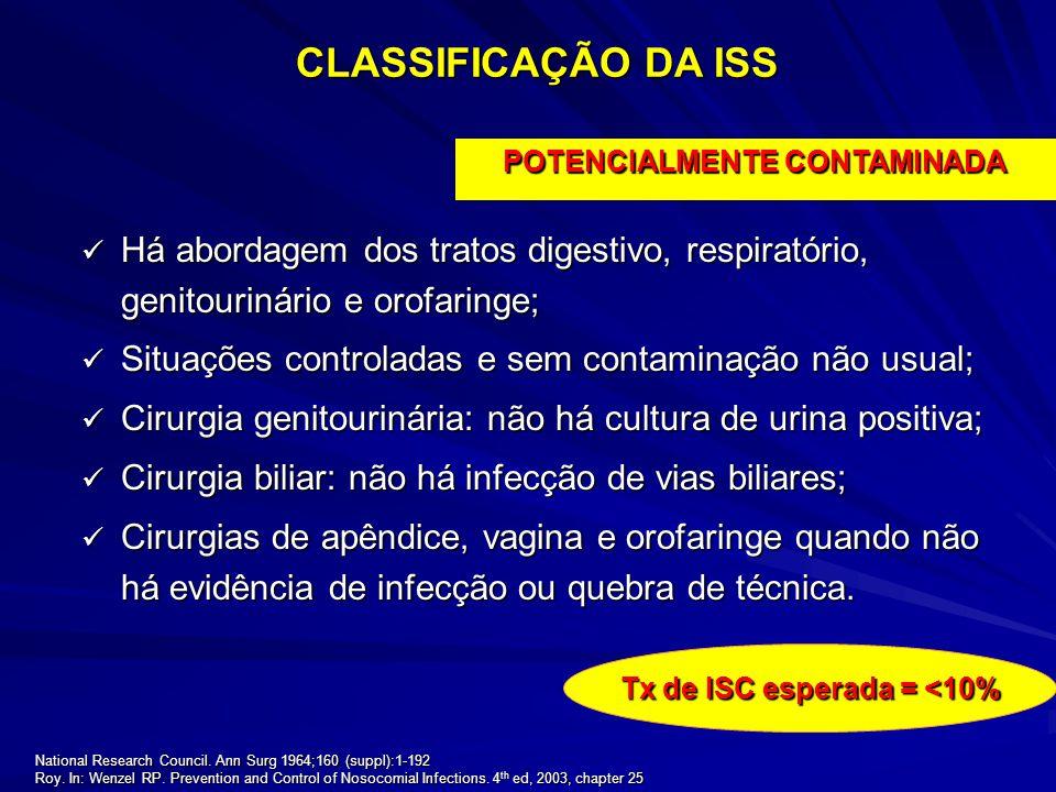 POTENCIALMENTE CONTAMINADA Tx de ISC esperada = <10%