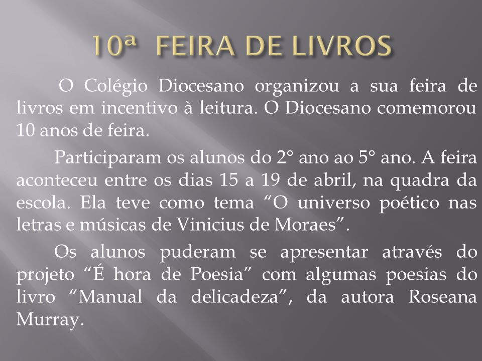 10ª FEIRA DE LIVROS