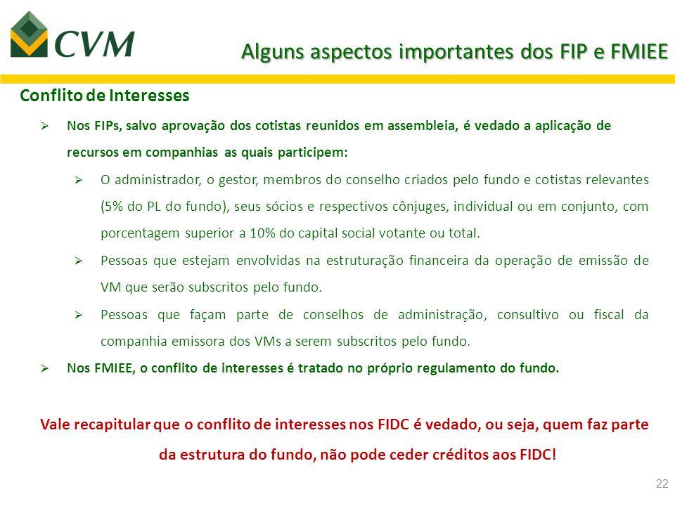 Alguns aspectos importantes dos FIP e FMIEE