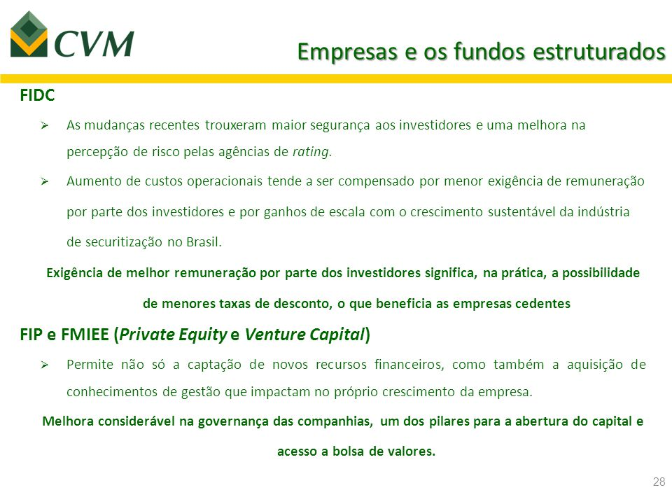 Empresas e os fundos estruturados