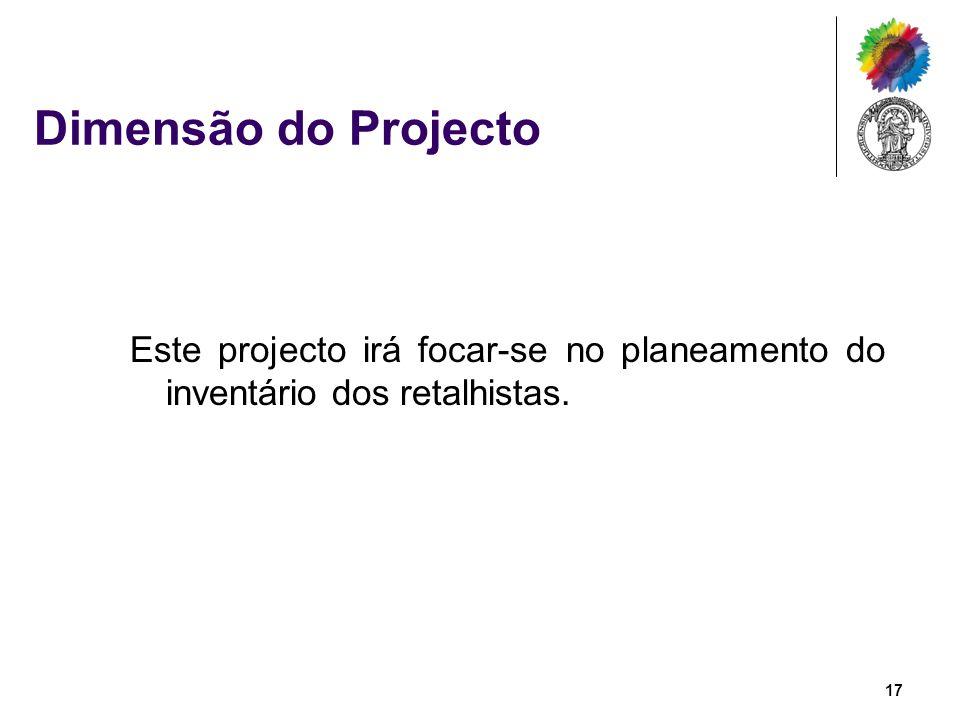 Dimensão do Projecto Este projecto irá focar-se no planeamento do inventário dos retalhistas.