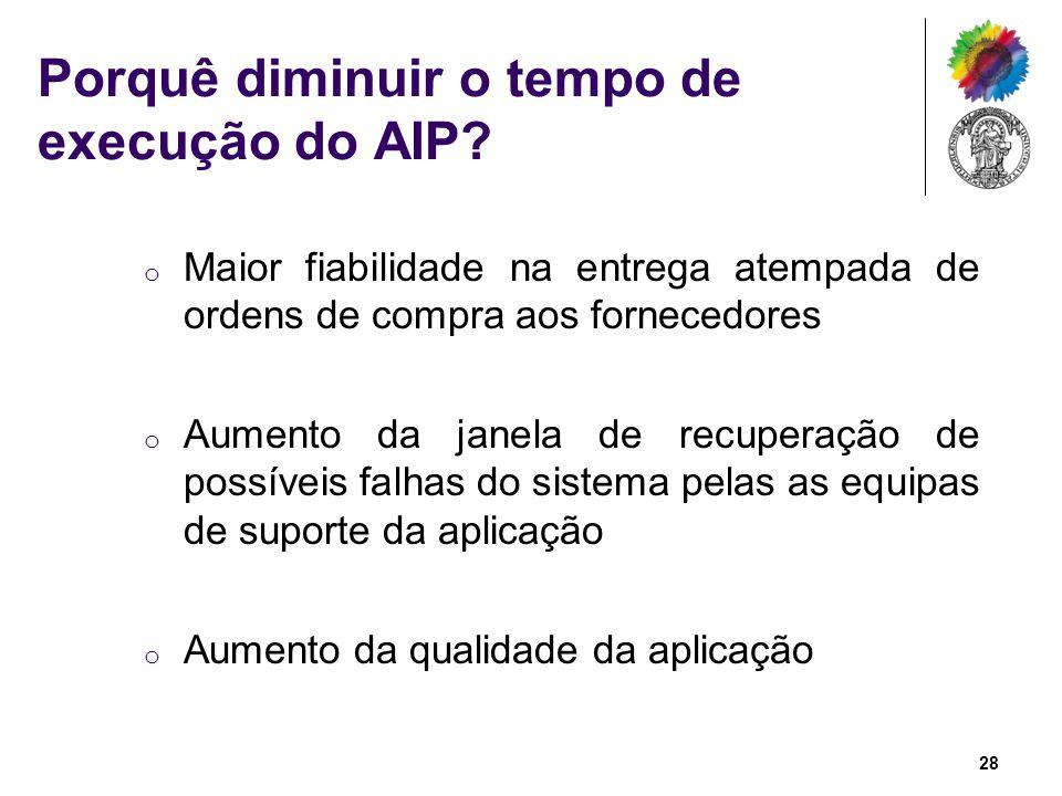 Porquê diminuir o tempo de execução do AIP