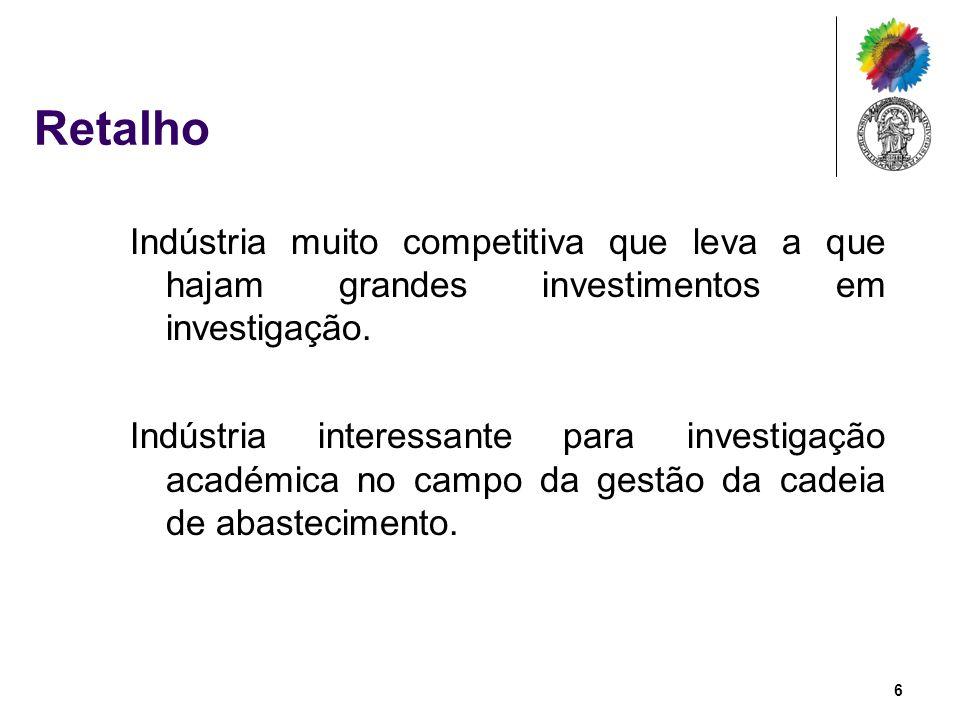 Retalho Indústria muito competitiva que leva a que hajam grandes investimentos em investigação.