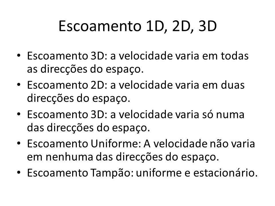 Escoamento 1D, 2D, 3D Escoamento 3D: a velocidade varia em todas as direcções do espaço.