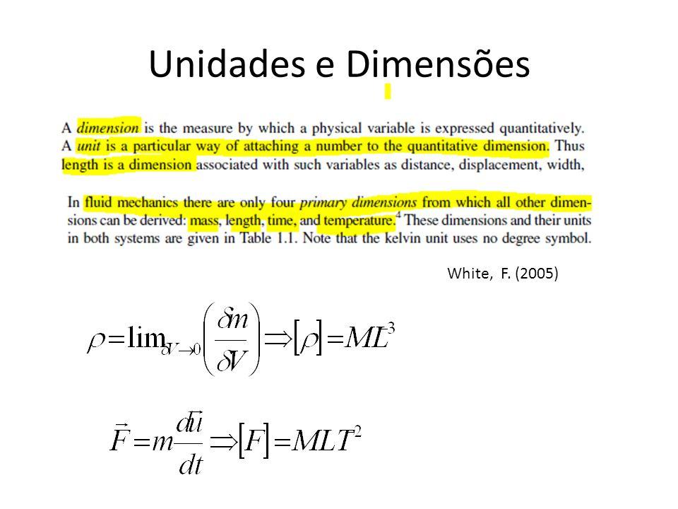 Unidades e Dimensões White, F. (2005)
