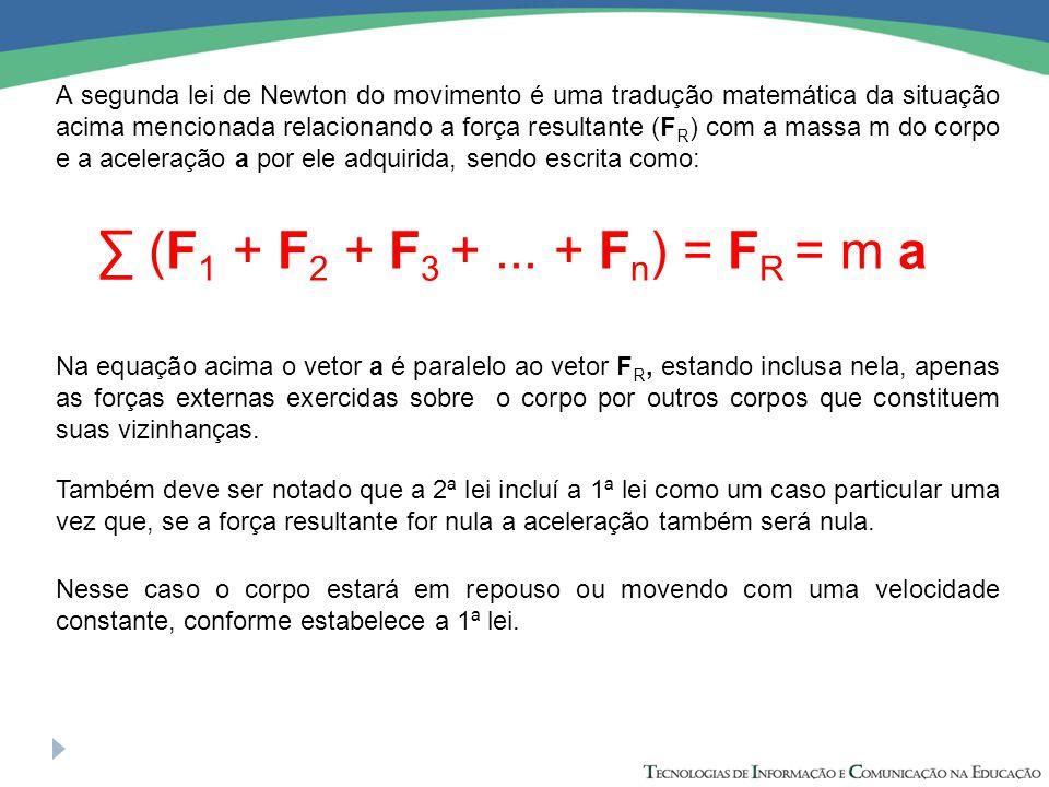 A segunda lei de Newton do movimento é uma tradução matemática da situação acima mencionada relacionando a força resultante (FR) com a massa m do corpo e a aceleração a por ele adquirida, sendo escrita como: