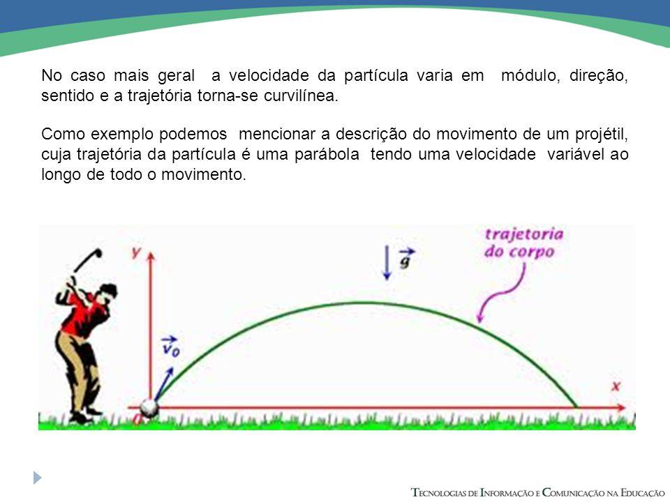 No caso mais geral a velocidade da partícula varia em módulo, direção, sentido e a trajetória torna-se curvilínea.