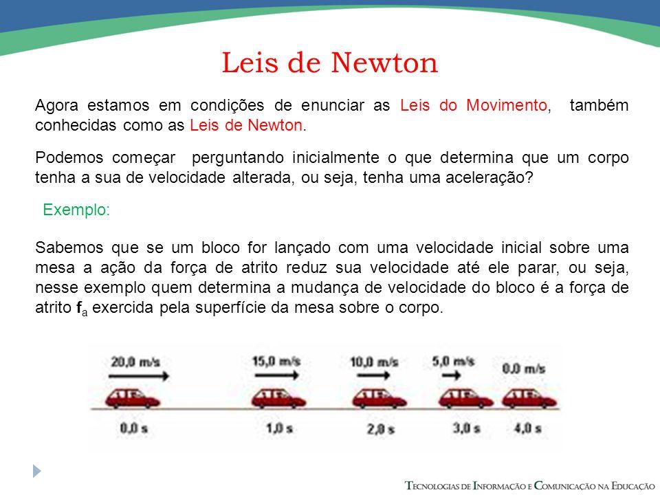 Leis de Newton Agora estamos em condições de enunciar as Leis do Movimento, também conhecidas como as Leis de Newton.