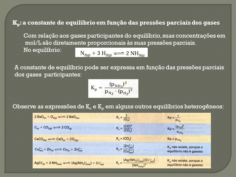 Kp: a constante de equilíbrio em função das pressões parciais dos gases