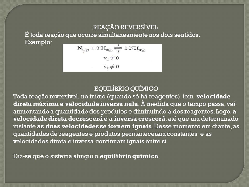 REAÇÃO REVERSÍVEL É toda reação que ocorre simultaneamente nos dois sentidos. Exemplo: EQUILÍBRIO QUÍMICO.