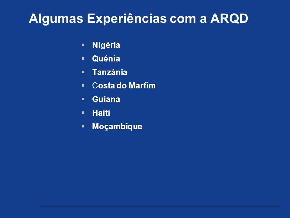 Algumas Experiências com a ARQD