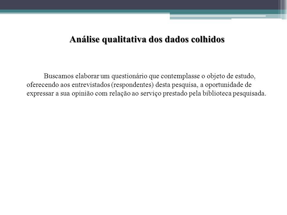 Análise qualitativa dos dados colhidos