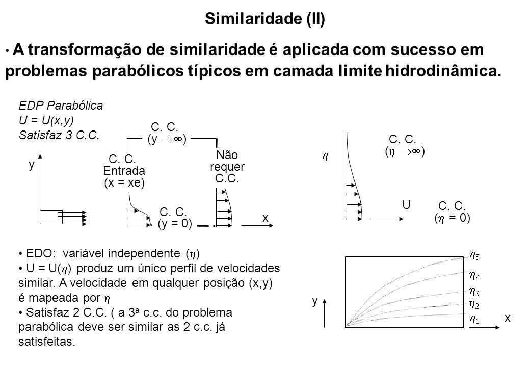 Similaridade (II) A transformação de similaridade é aplicada com sucesso em problemas parabólicos típicos em camada limite hidrodinâmica.