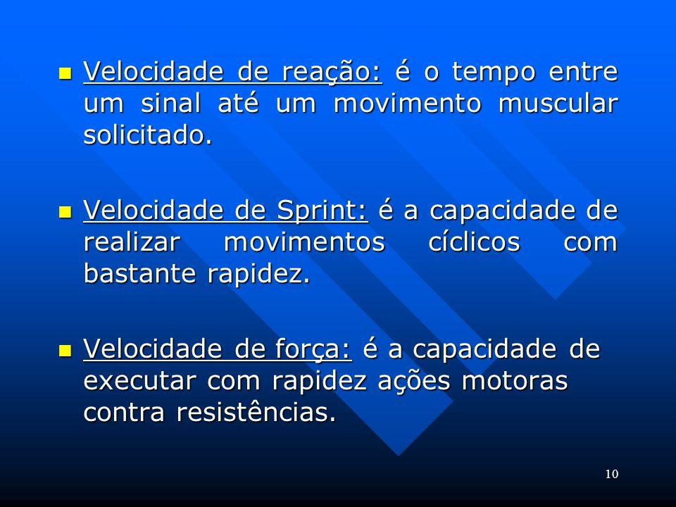 Velocidade de reação: é o tempo entre um sinal até um movimento muscular solicitado.