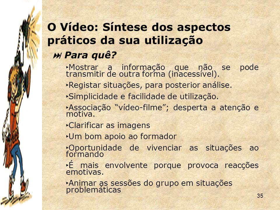 O Vídeo: Síntese dos aspectos práticos da sua utilização