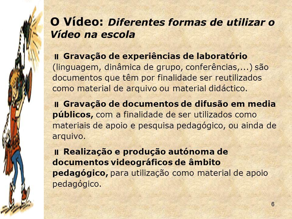 O Vídeo: Diferentes formas de utilizar o Vídeo na escola