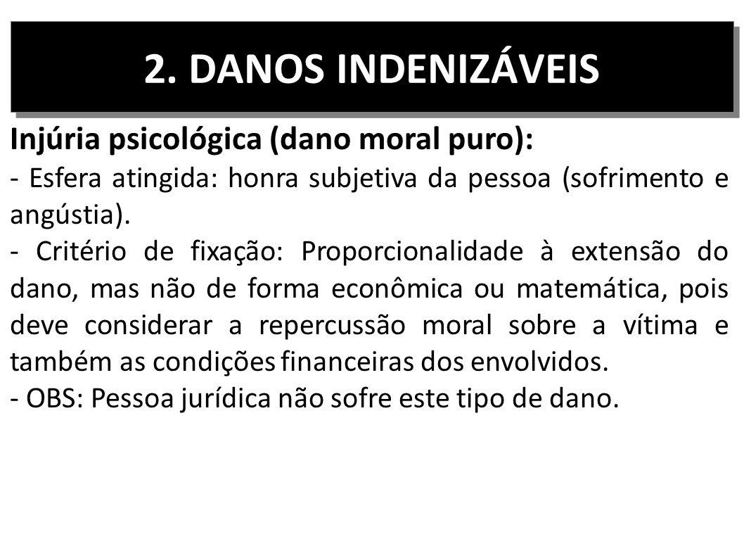 2. DANOS INDENIZÁVEIS Injúria psicológica (dano moral puro):