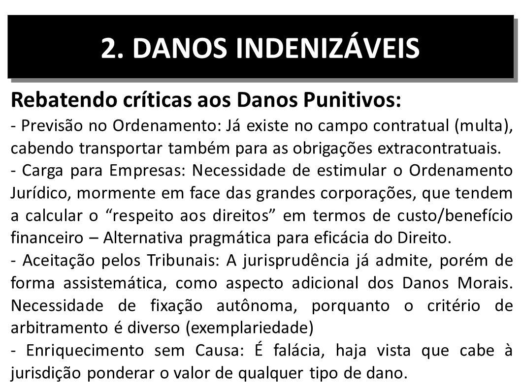 2. DANOS INDENIZÁVEIS Rebatendo críticas aos Danos Punitivos: