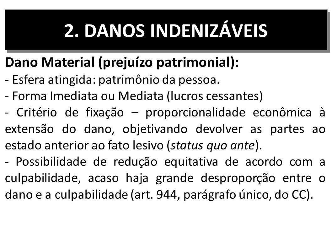 2. DANOS INDENIZÁVEIS Dano Material (prejuízo patrimonial):