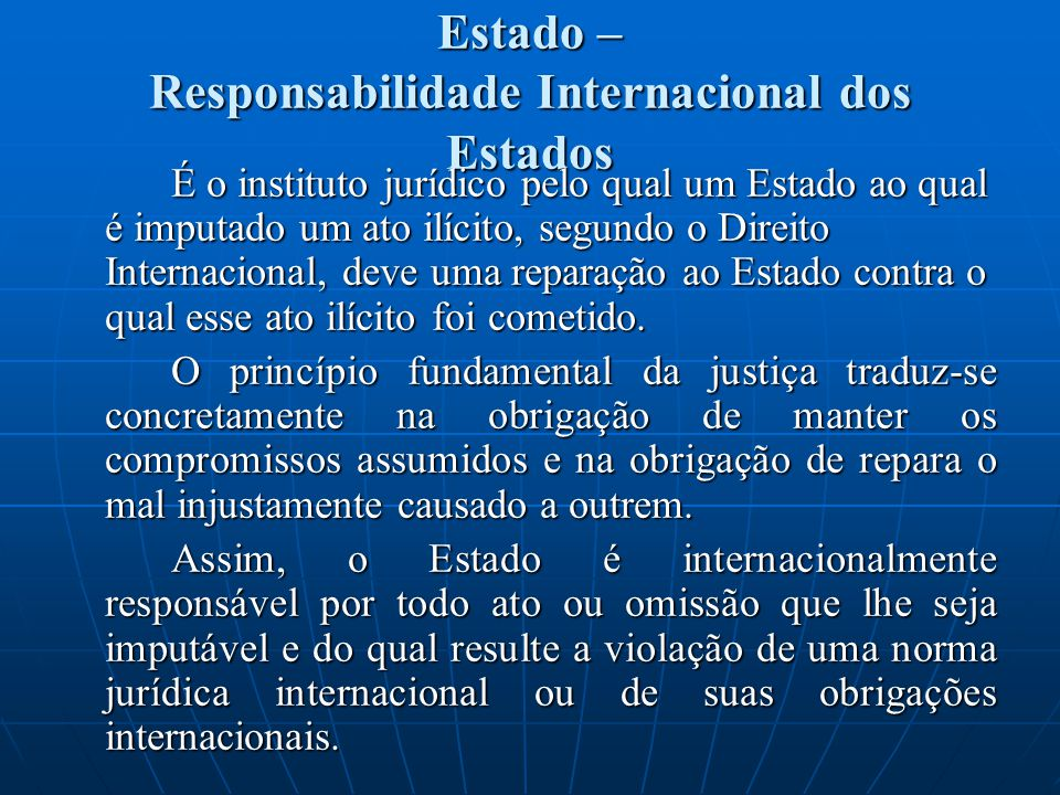 Estado – Responsabilidade Internacional dos Estados