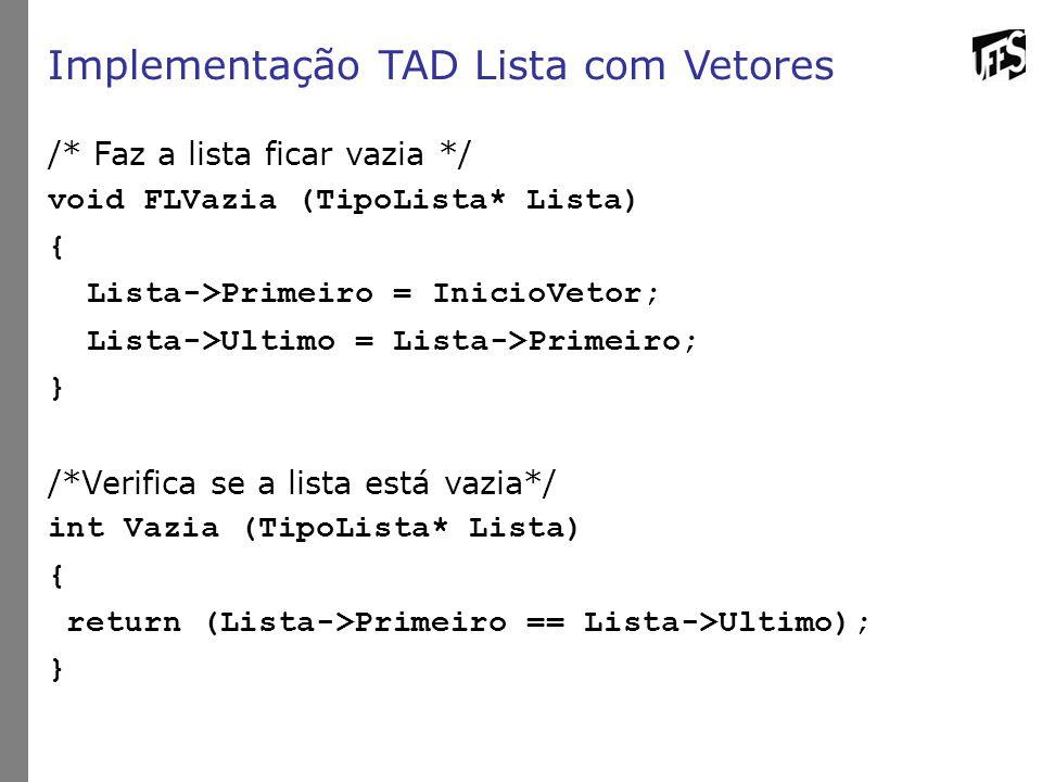Implementação TAD Lista com Vetores