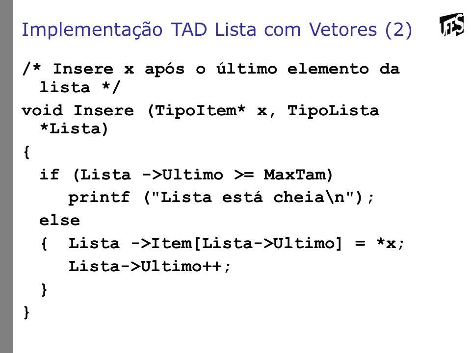 Implementação TAD Lista com Vetores (2)