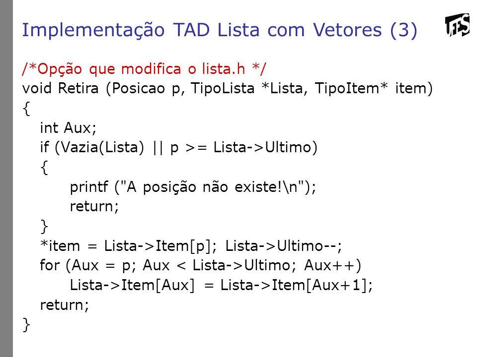 Implementação TAD Lista com Vetores (3)
