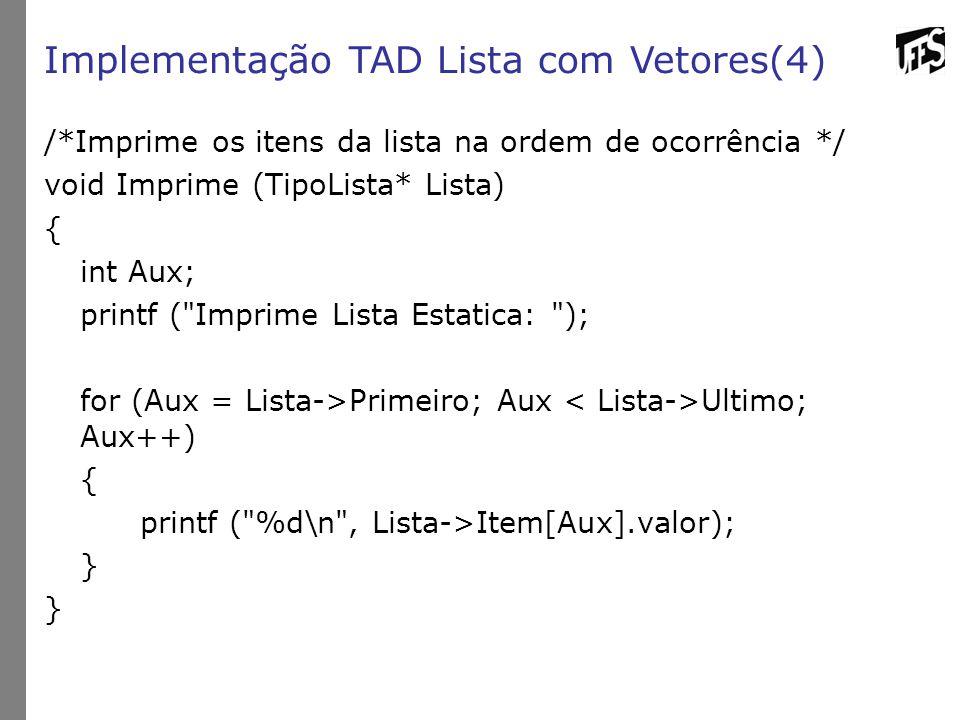 Implementação TAD Lista com Vetores(4)