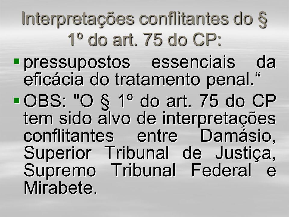 Interpretações conflitantes do § 1º do art. 75 do CP: