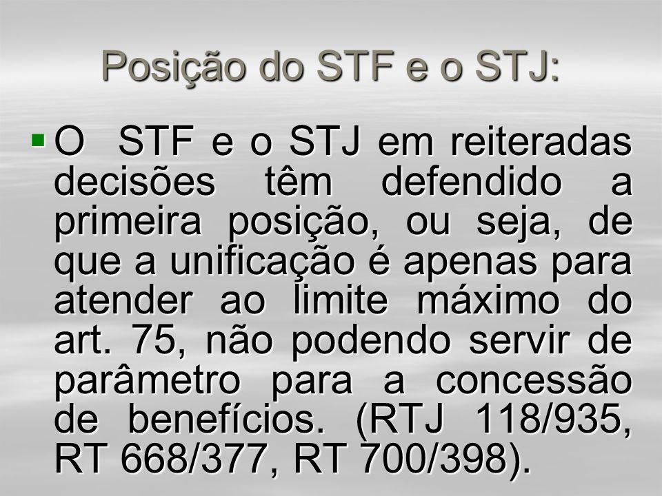 Posição do STF e o STJ: