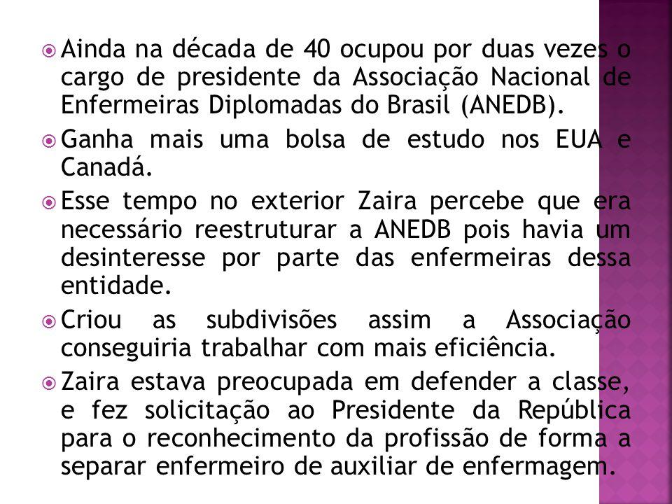 Ainda na década de 40 ocupou por duas vezes o cargo de presidente da Associação Nacional de Enfermeiras Diplomadas do Brasil (ANEDB).