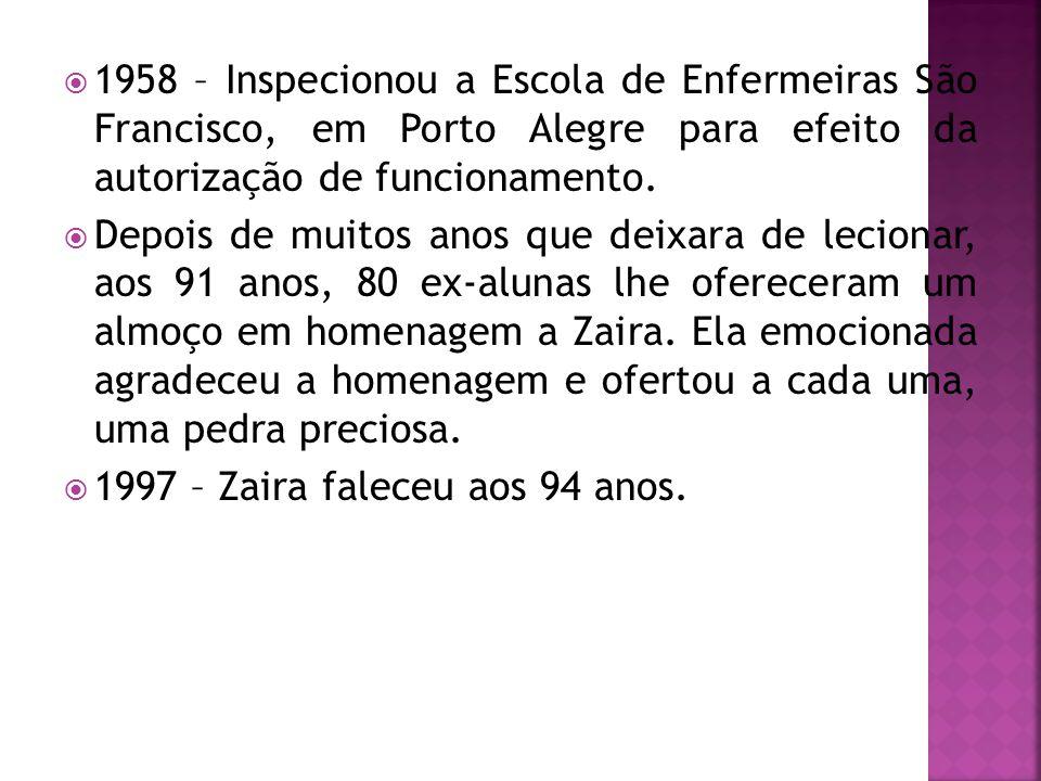 1958 – Inspecionou a Escola de Enfermeiras São Francisco, em Porto Alegre para efeito da autorização de funcionamento.